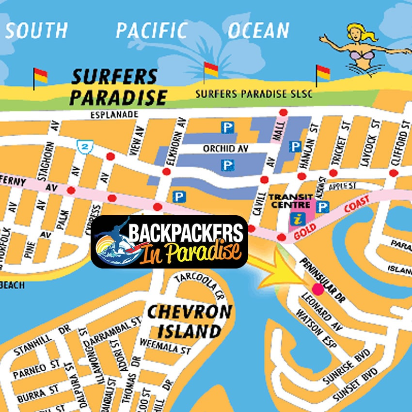 Surfers Paradise Map BACKPACKERS IN PARADISE, SURFERS PARADISE, QUEENSLAND, AUSTRALIA